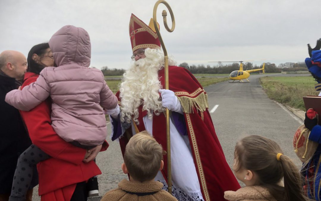 Saint Nicholas arrives by heli at DronePort